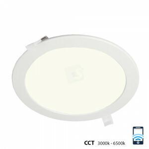 LED downlight 18 watt, WiFi CCT 3000-6500 kelvin, rond 220 mm