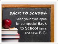 Houd uw ogen open voor onze speciale 'Terug naar School' actie artikelen en bespaar MEGA!